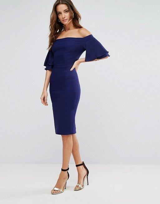 ca7e3683ed Vesper Off Shoulder Pencil Dress With Frill Sleeve