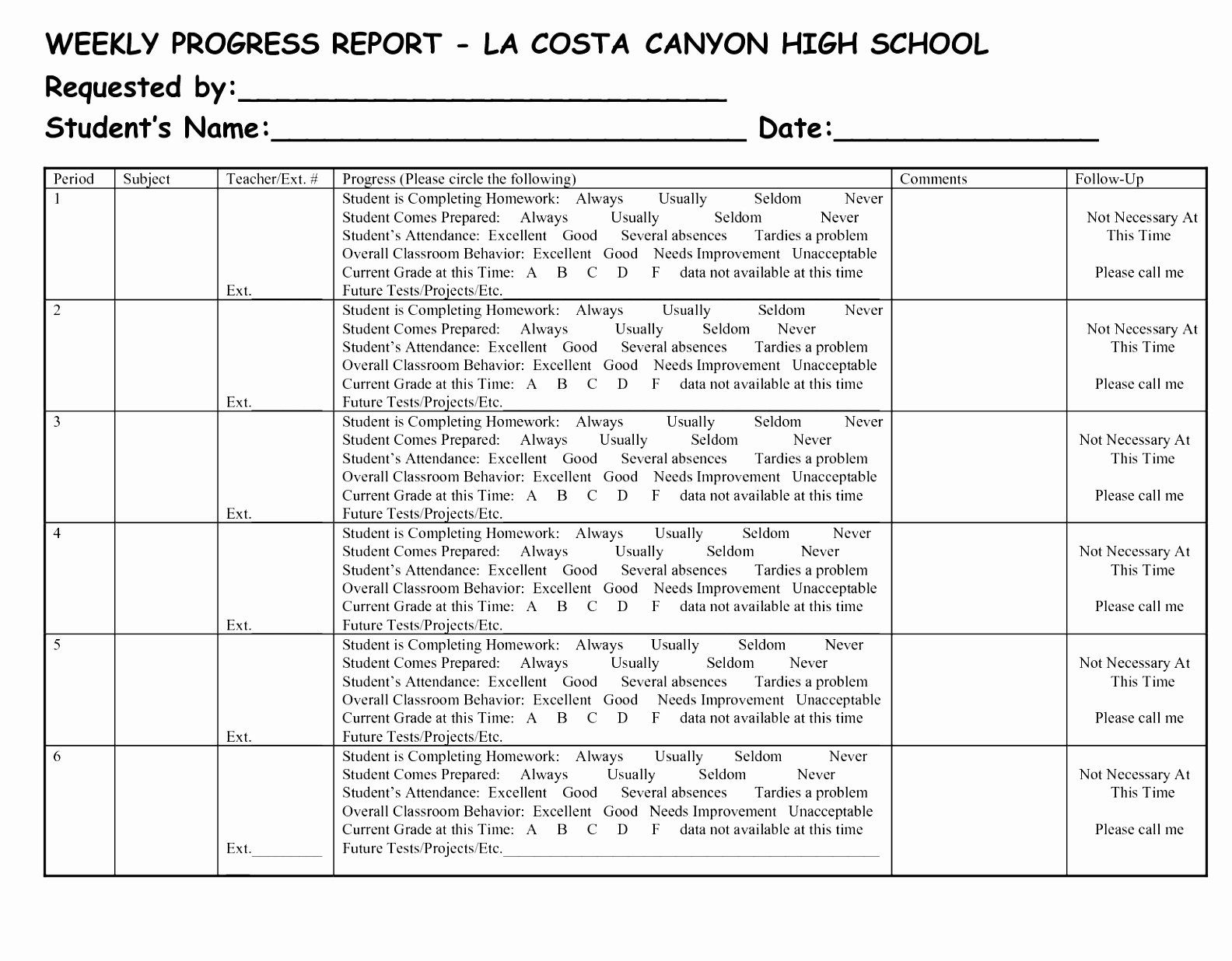 Elementary progress report templates unique 96 weekly