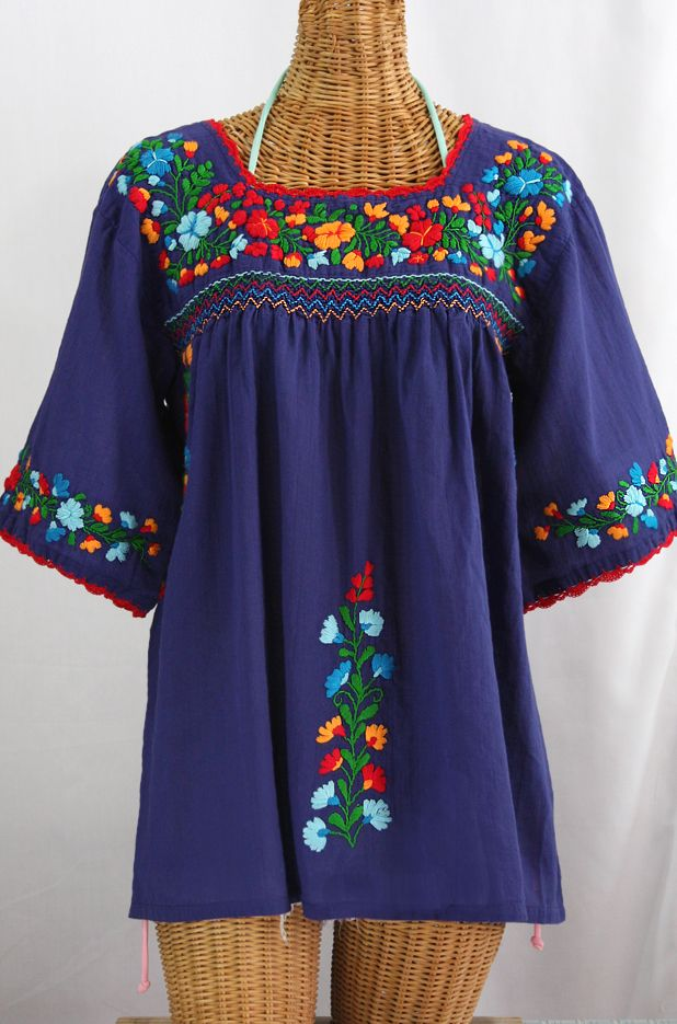 My Style My Style Mexican Blouse Peasant Blouse Denim Blouse