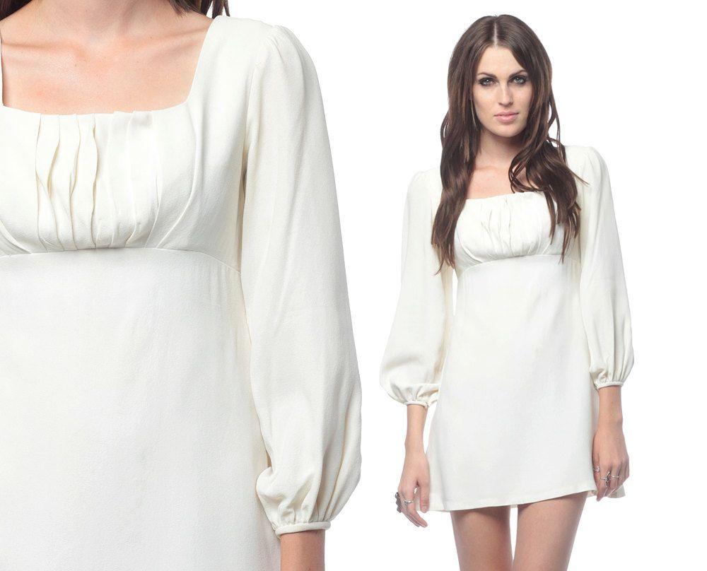 b218394356eee white long sleeve babydoll dress