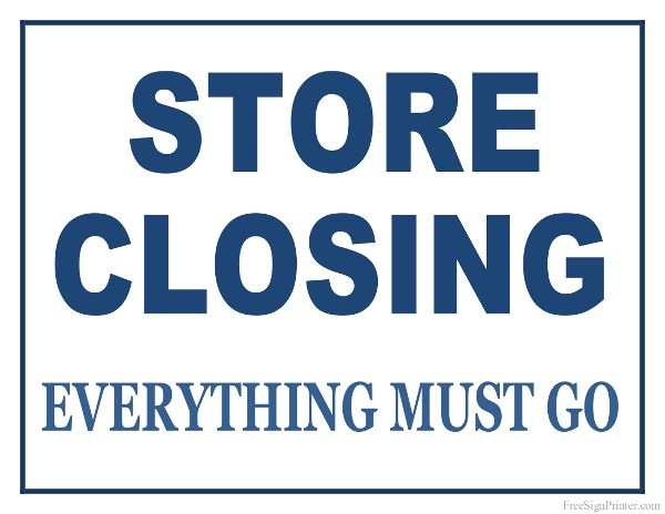 Printable Store Closing Sign