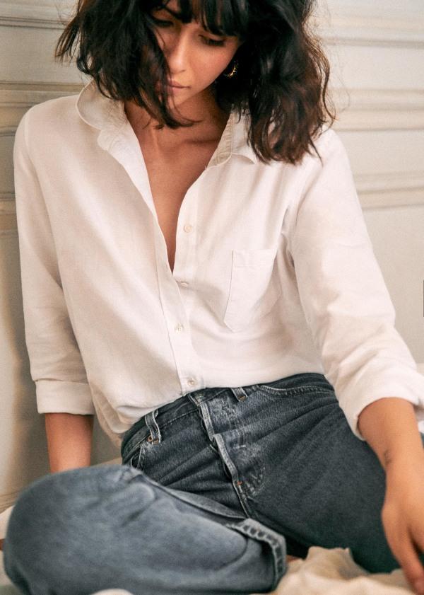 Sezane Tomboy Shirt In 2020 Tomboy Shirts Collared Shirt Outfits Organic Cotton Shirt