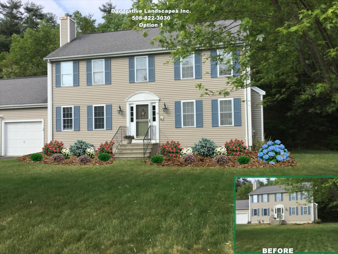 Colonial front yard landscape design bridgewater ma for Colonial landscape design