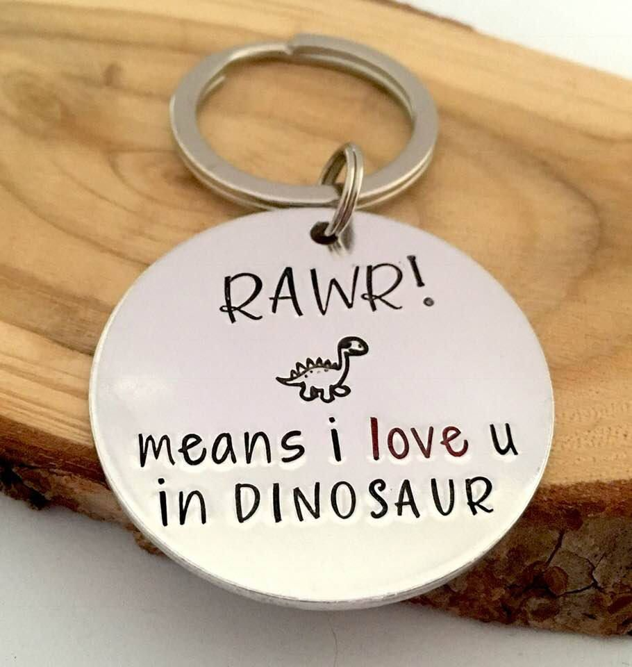 """Rawr Means /""""I love You/"""" Quirky Dinosaur Silver Necklace Message Gift New"""
