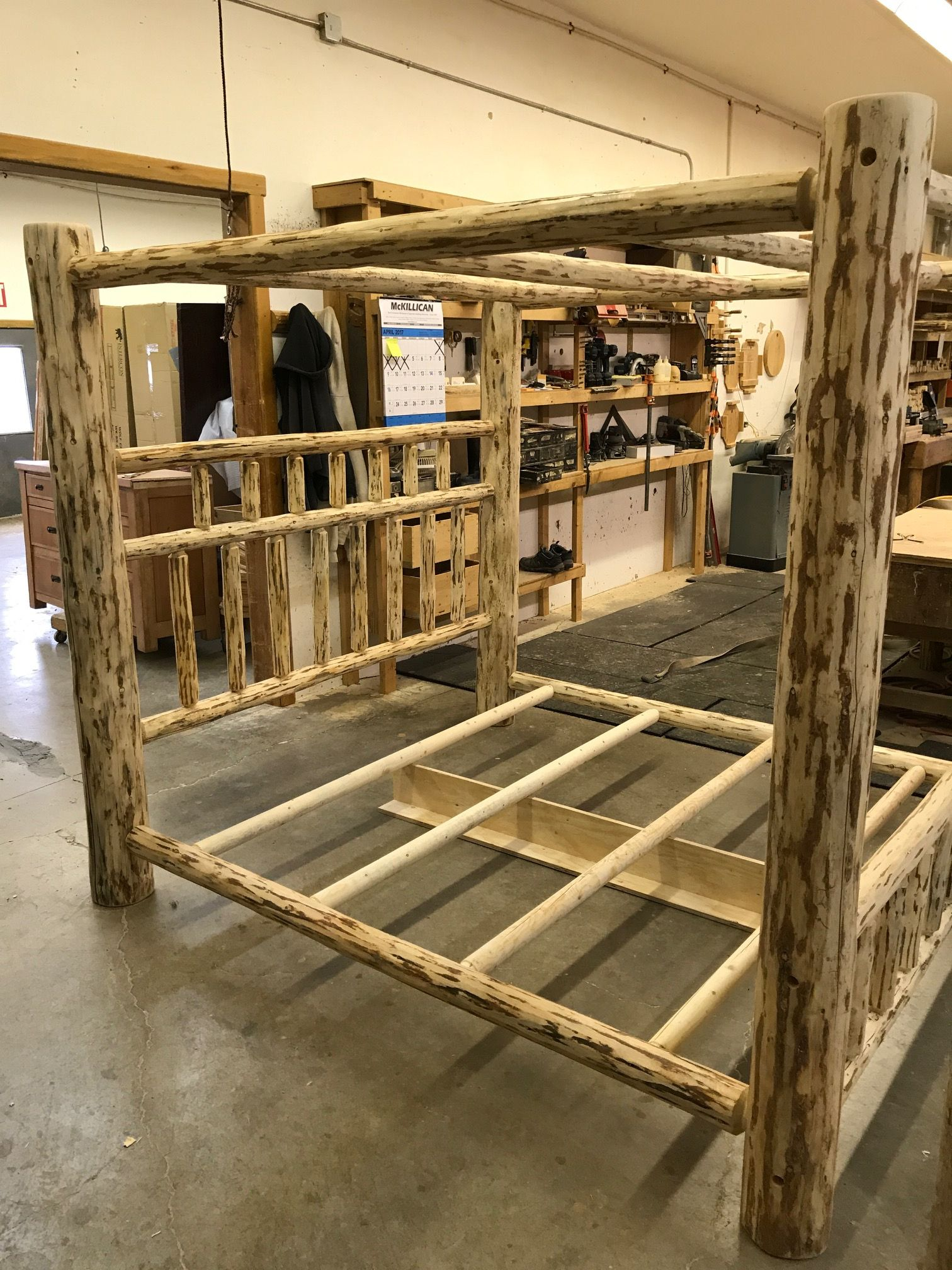 Frontier Log Canopy Bed Log canopy bed, Rustic canopy