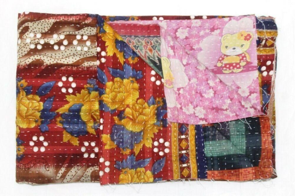 Vintage Kantha Quilt Kantha Quilt Patchwork throw Reversible quilt Vintage Quilt Kantha blanket Patchwork quilt Kantha Throw