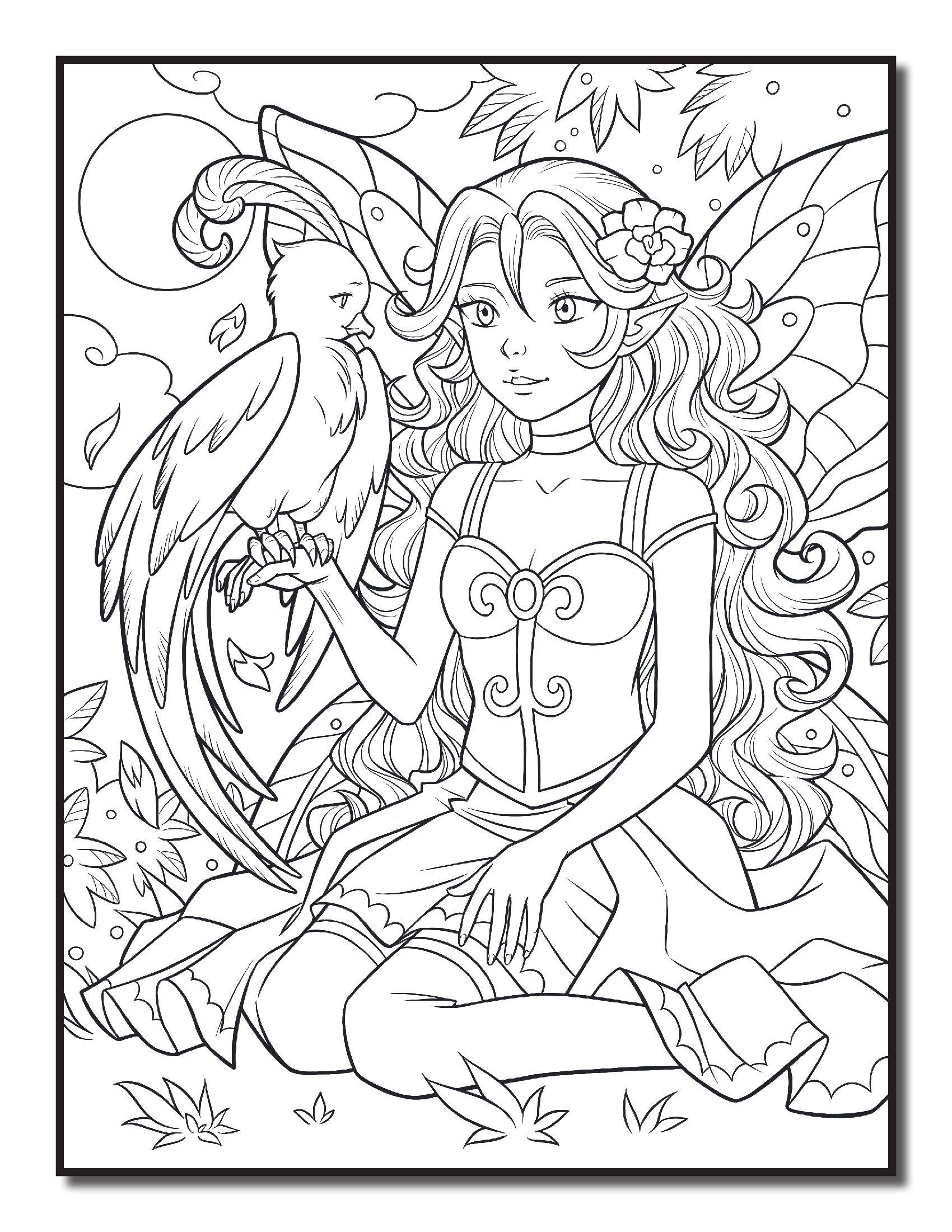 Раскраски «Феи и Эльфы» - «Фея с орлом» | Color Book ...