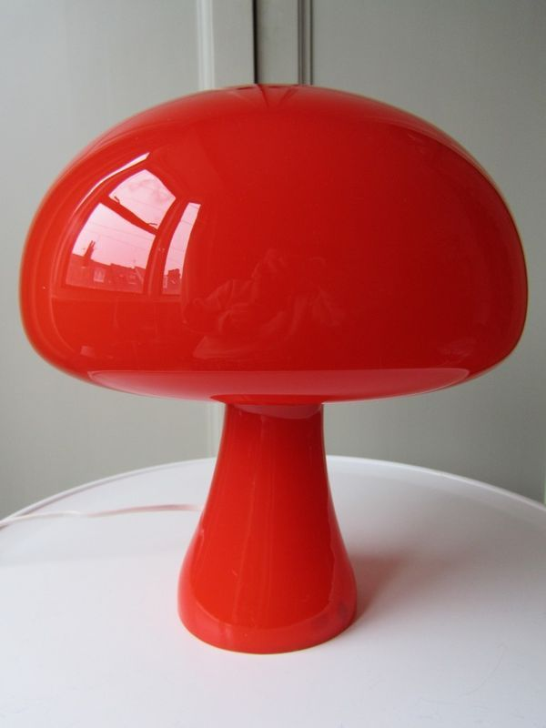 Great Large Cased Glass Mushroom Table Lamp   Retro Holmegaard Coloni Space Age  Style