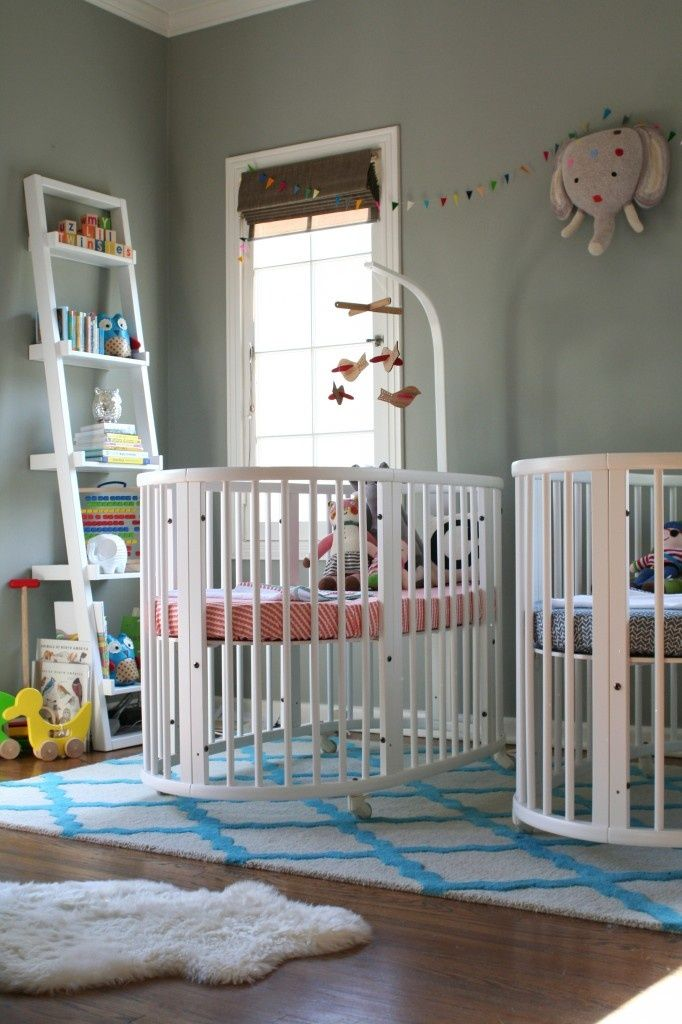 boy & girl twins nursery. Plus, round cribs! I love them | Baby ...