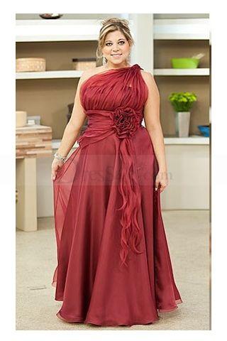 One Shoulder  Burgundy Chiffon Dress