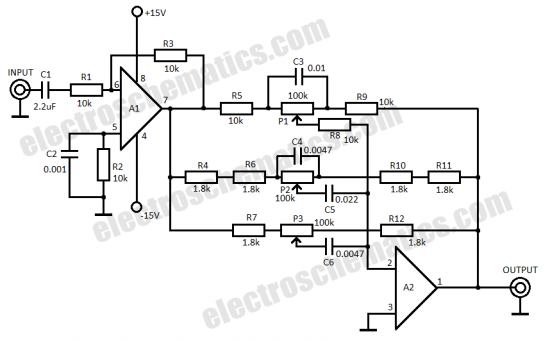 3 band audio equalizer circuit