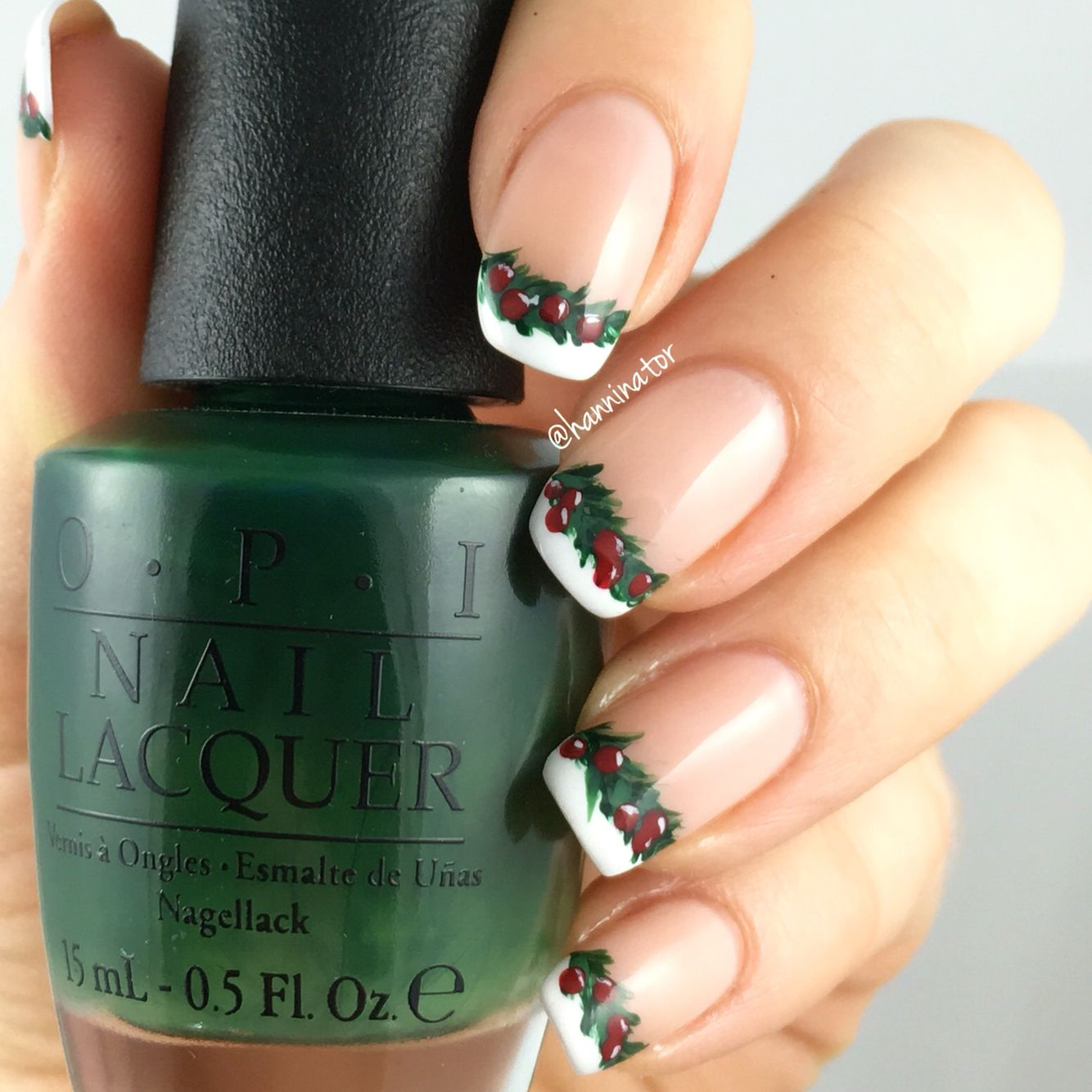 Holly garland french manicure  Bubble bath - Alpine snow - Christmas gone plaid - Don't mess with OPI - Love is in my cards
