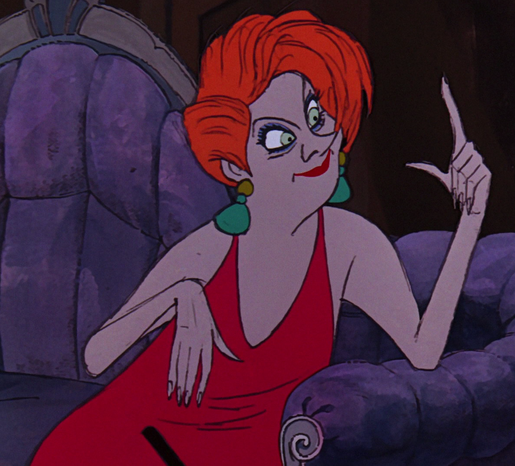 """Madame Medusa is the main antagonist of Disney's 1977 film The Rescuers. She is the proprietor of a seedy pawn shop in New York. Ken Anderson drew many different designs for Medusa, including a Lauren Bacall-esque """"grande dame"""" (with snake-like locks of hair, true to her name), a vain, sinister, slender lady and a portly woman with a facade of make-up, in an attempt to find the right personality. The design eventually settled on a rather hideous appearance (of which she seemingly remains..."""