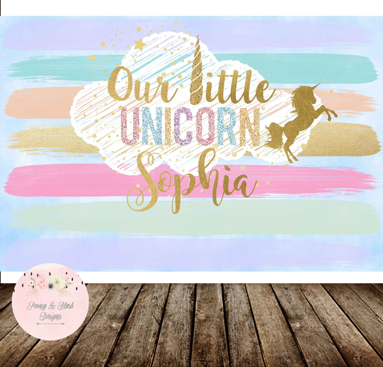 Digital Unicorn Birthday Party Backdrop Unicorn Backdrop Rainbow
