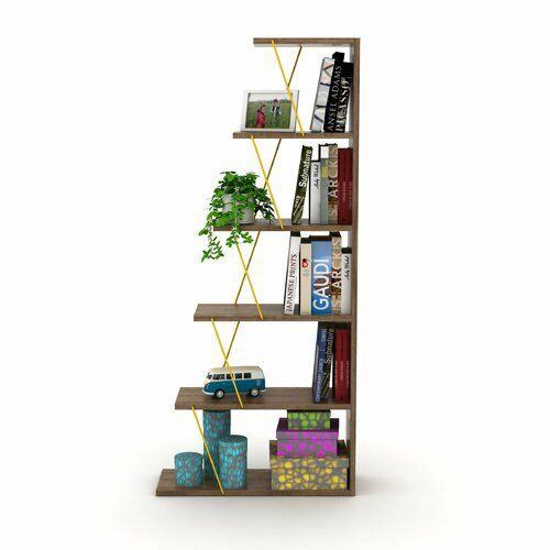 Marcie Bookcase 17 Stories Colour Brown Yellow Bookcase Cube