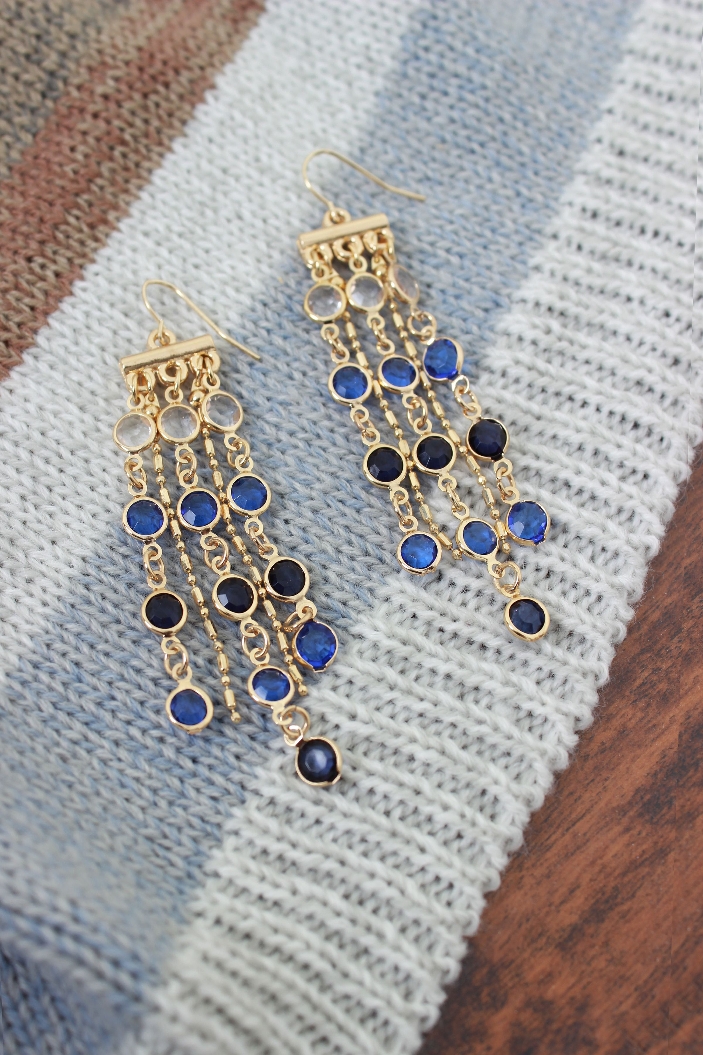 We love these dangling statement earrings in Indigo by Simply Noelle