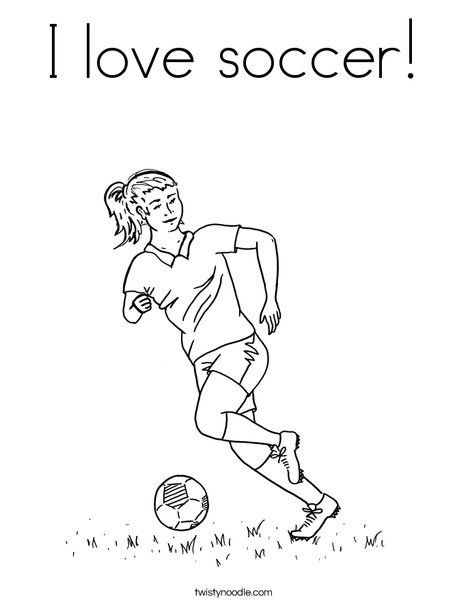 I love soccer! Coloring Page from TwistyNoodle.com