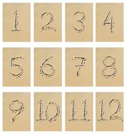 Numbers Written In The Sand Used As Table Numbers For A Beach