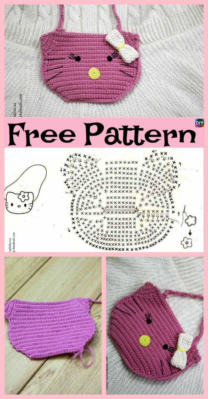 Cute Crochet Hello Kitty Purse - Free Patterns in 2018 | Toys ...