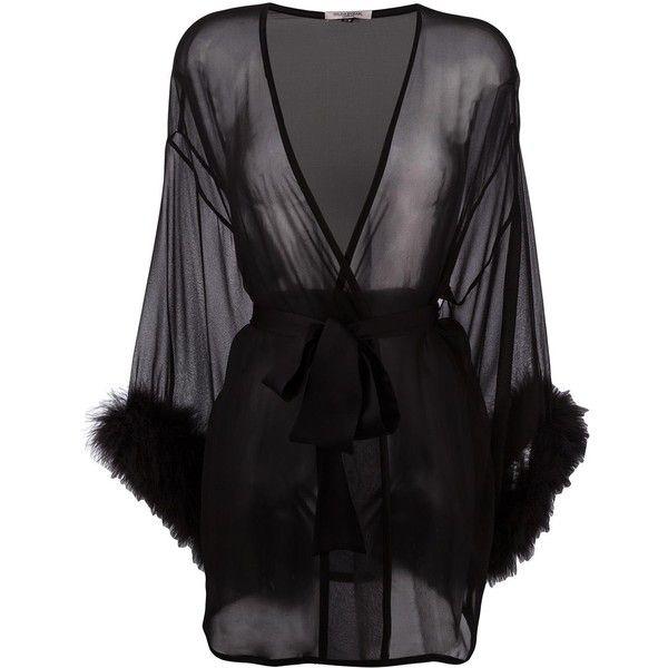 Gilda & Pearl 'Diana' kimono ($447) ❤ liked on Polyvore featuring intimates, robes, black, silk lingerie, silk kimono robe, kimono robe, silk kimono and lingerie robe