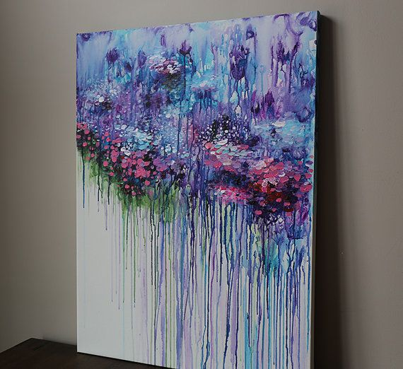 Violet Purple Abstract Flower Painting Acrylic Painting Abstract