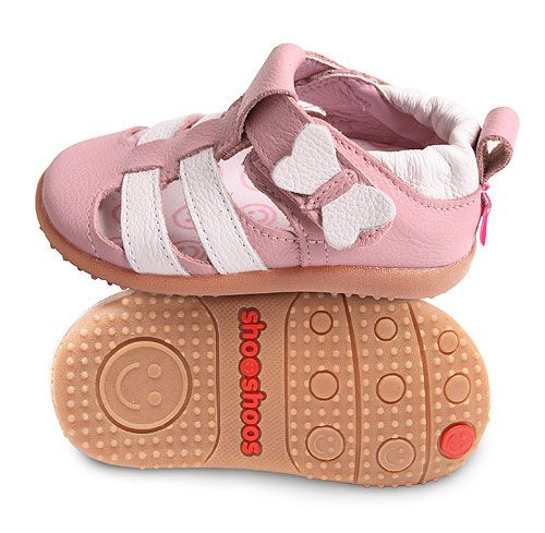 712b1aa897dc Pale Pink Shooshoos Sandals with White Butterfly. These shoes have a love  flexisole www.