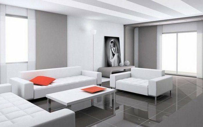 Admirable Idee Deco Salon Gris Et Blanc, Mobilier Blanc, Carrelage Gris,  Accents Orange