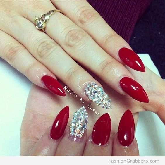 Red Stiletto Nail with diamonds, perfect for the holidays ...