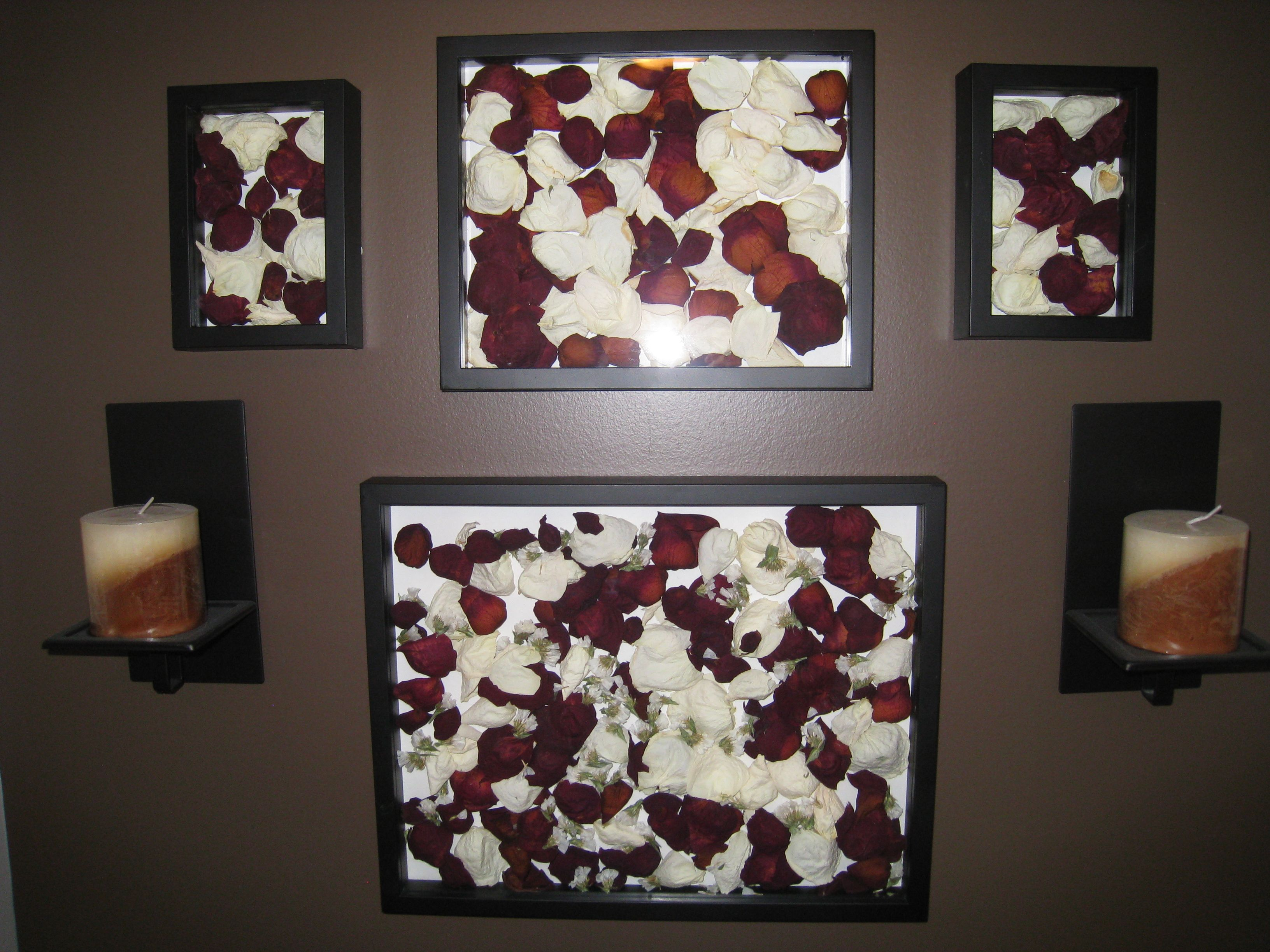 Dried rose petals in a deep frame