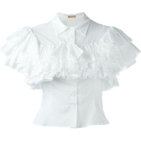 Alaïa Ruffled Shortsleeved Shirt ($1,164) ❤ liked on Polyvore ...