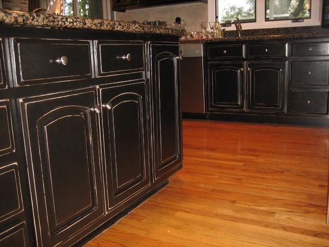 Black Distressed Kitchen Cabinets | Handpained and ...