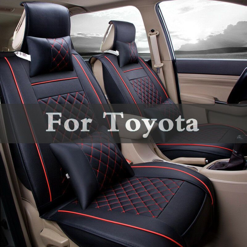 Full Set Car Seat Covers Front Rear PU Leather Cushion Protector Mat Soft Pad