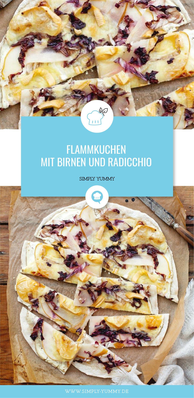Flammkuchen mit Birnen und Radicchio