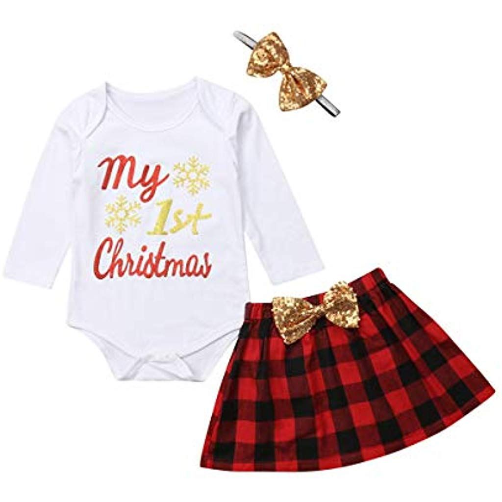 4c6bb4bc02e0ae My 1st Christmas Newborn Baby Girls Snowflake Romper Bodysuit Bowknot  Plaids Skirt Headband 3pcs Outfit #clothing #clothingstoresnearme  #clothingstores ...