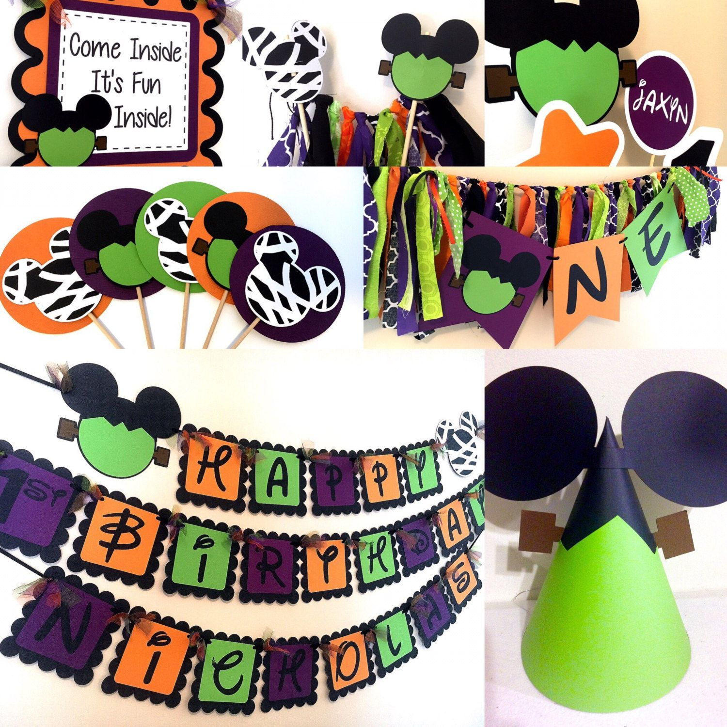 Halloween Party Packages.Halloween Mickey Mouse Inspired Birthday Party Packages Etsy Halloween Themed Birthday Party Halloween First Birthday Birthday Halloween Party