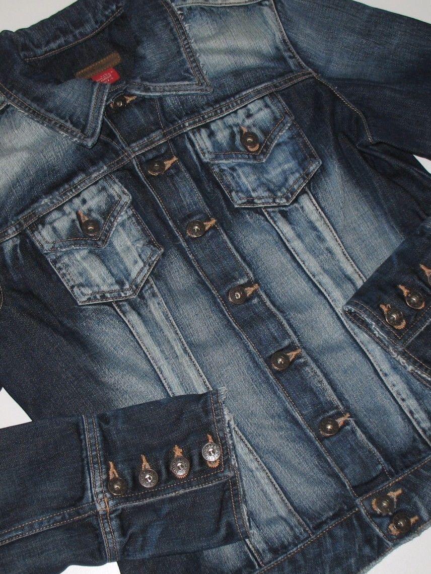Guess Premium Denim Jean Jacket Dark Blue Wash Distressed Bleached Size Large Denim Accessories Dark Blue Jeans Outfit Accessories [ 1140 x 856 Pixel ]