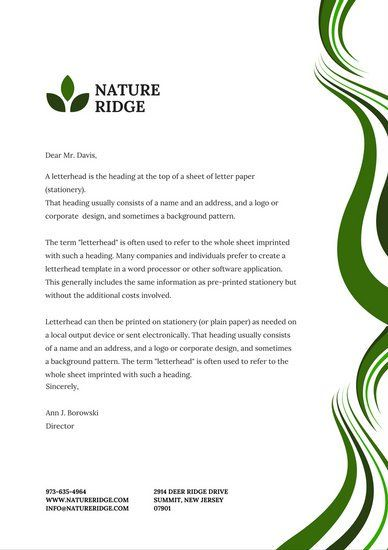 Business Letterhead Template Corporate Letterhead Style