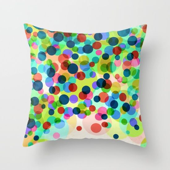Happy Rainbow Confetti Throw Pillow