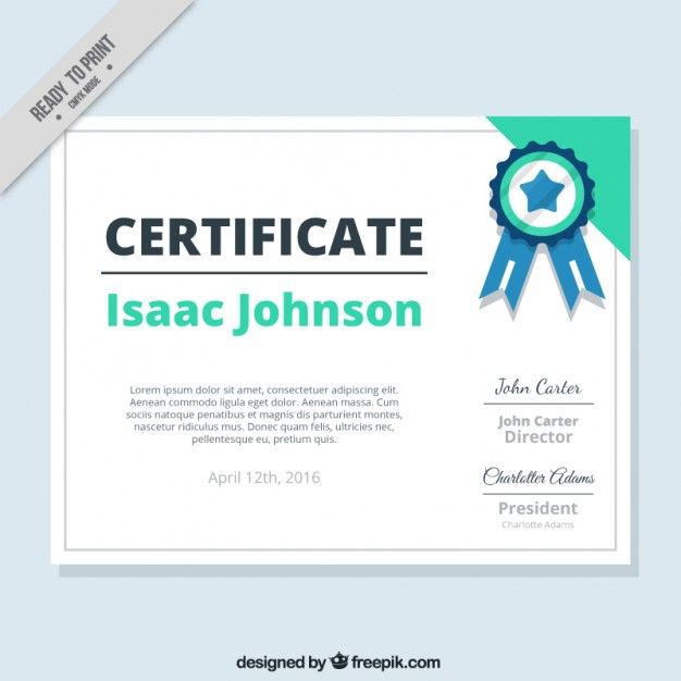 Certificado verde con una medalla Vector Gratis | Certificados y ...