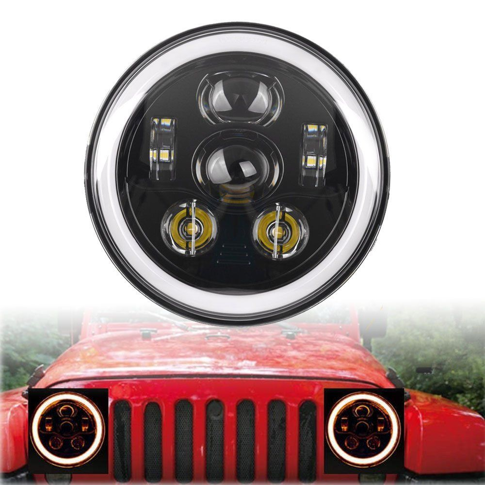 2x 7inch Round Led Headlights White Halo Ring Angel Eyes Amber