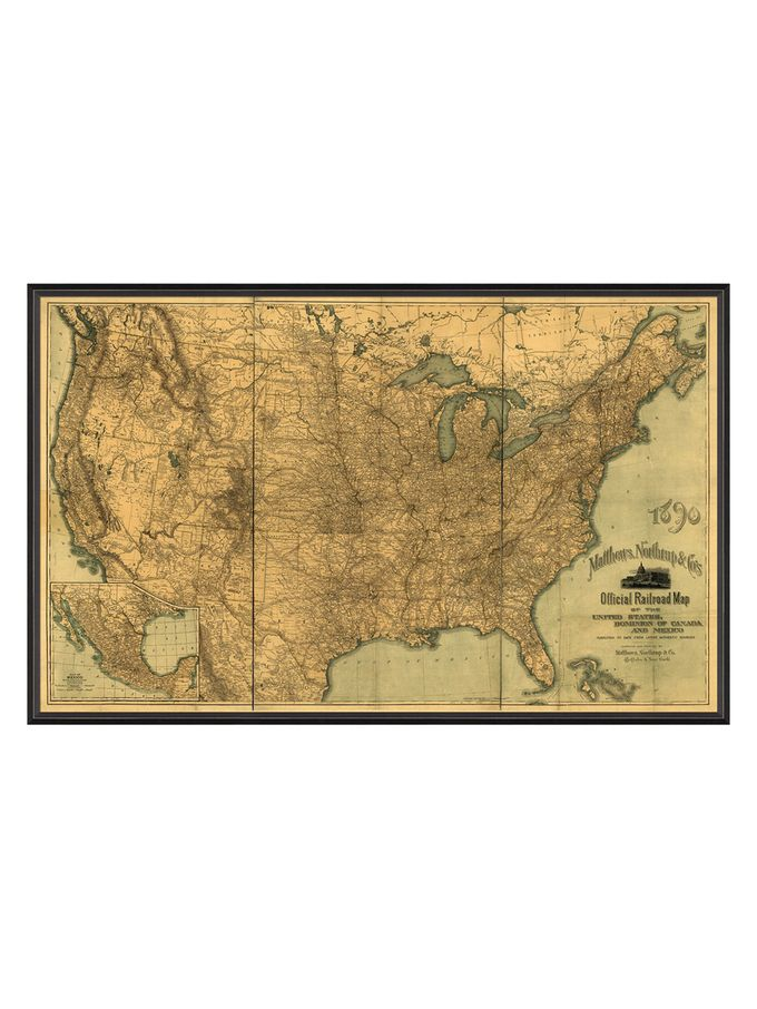 BCBL United States Official Railroad Map Framed From Large - Large framed us map