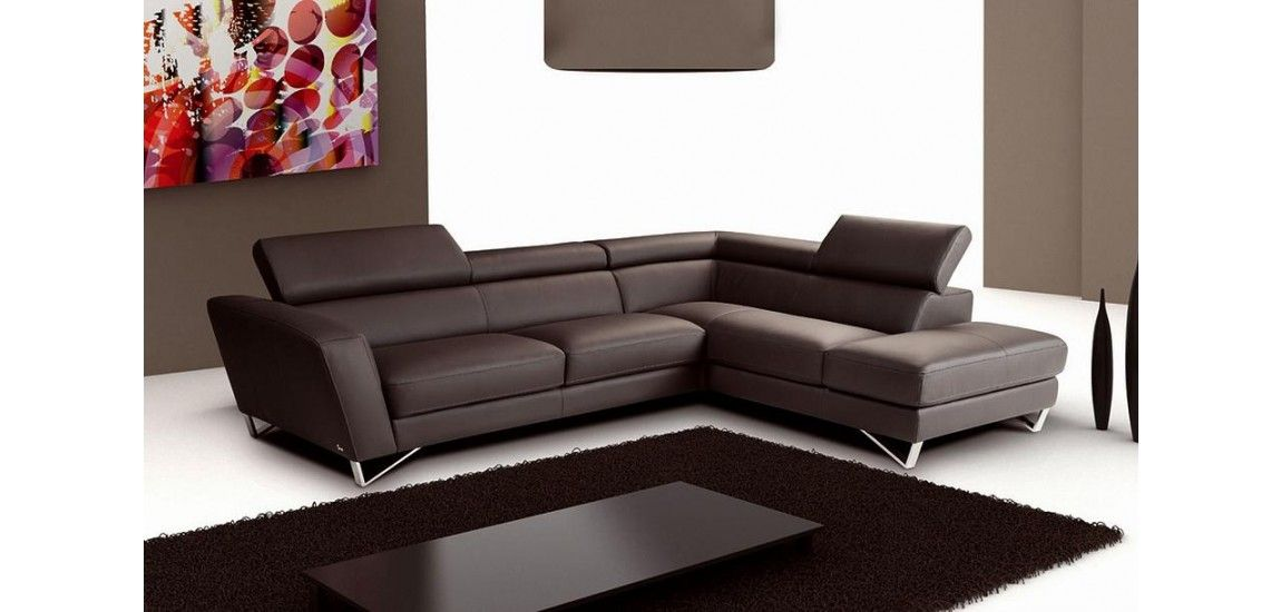 Nicoletti Lipari Grey Italian Leather Sofa Chaise Lancaster Reviews ...