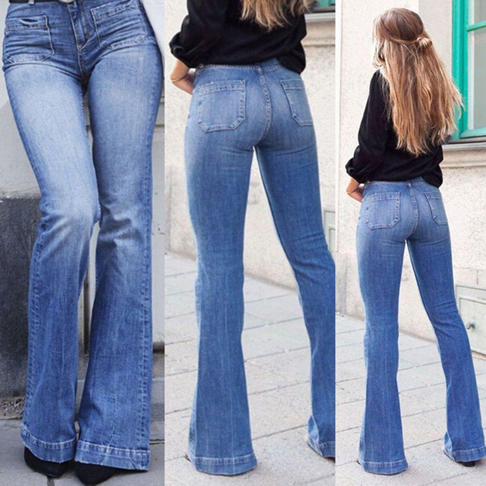 c6f62a463f6d87 Women High Waist Jeans Flares Casual Wide Leg Denim Jeans Blue Sexy Long  Pants