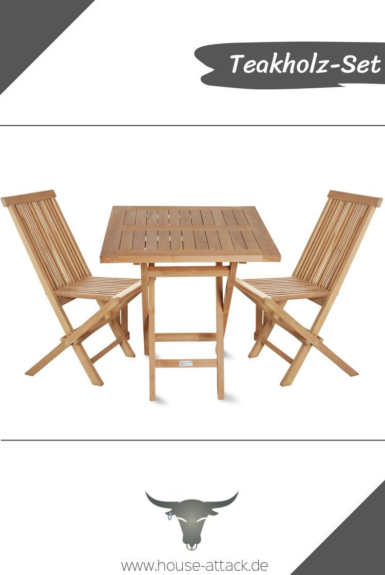 3er Set Aus Teakholz Serie Riva Bestehend Aus Tisch Und 2 Stuhlen