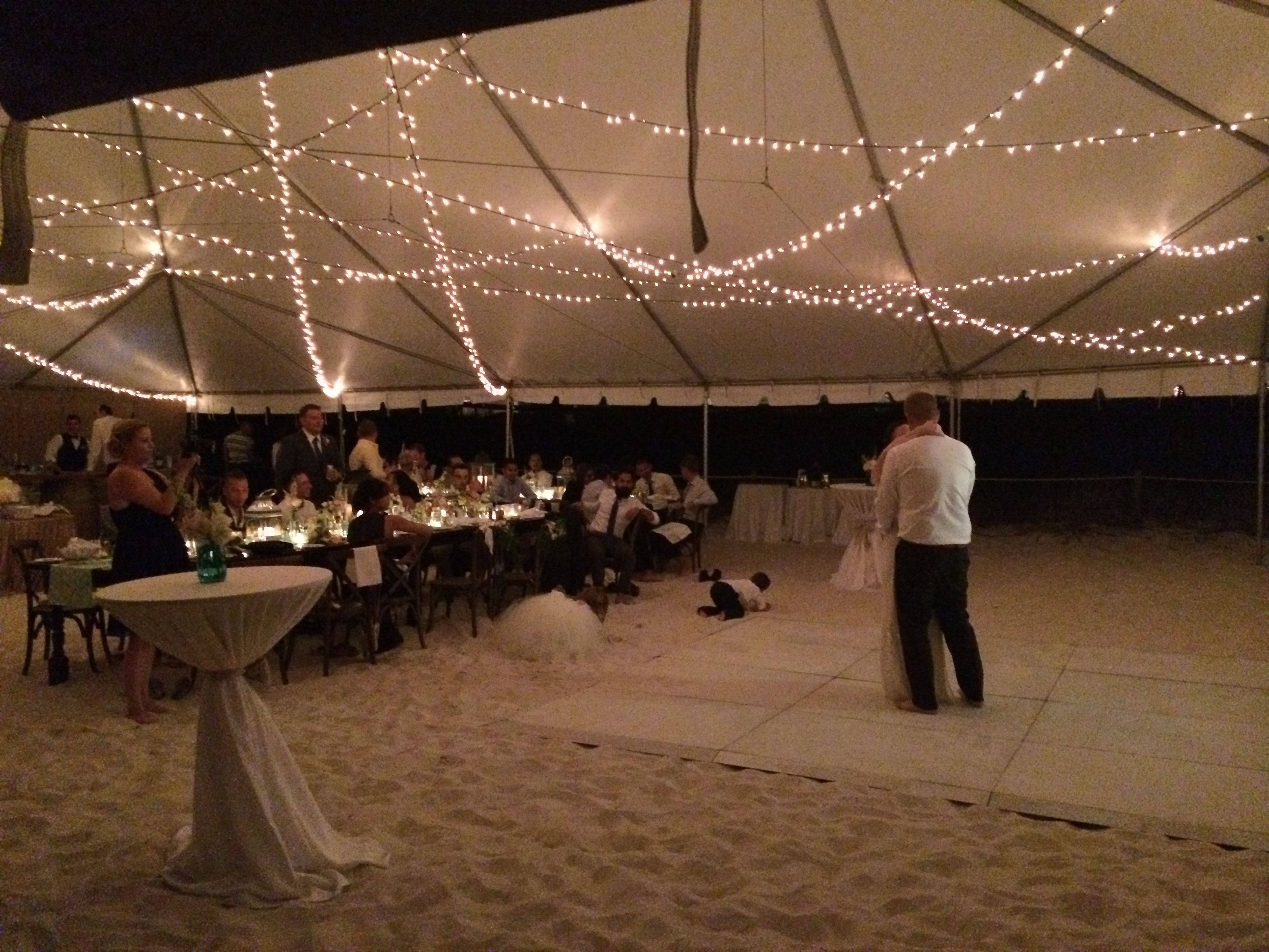 Panama City Beach Fl Wedding Reception On The With String Lights Weaved Into Tent In Sand