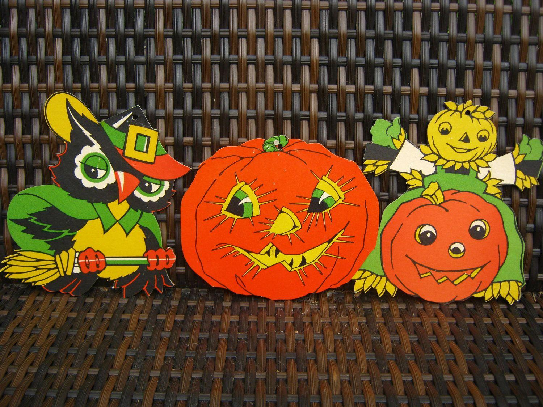 Vintage halloween paper decorations - Vintage Halloween Decorations Set Of Three Halloween Paper Decorations