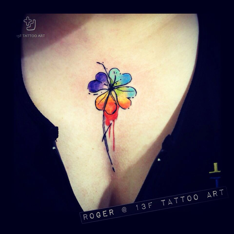 Colorful four-leaf clover tattoo by Roger !! | Tattoos | Pinterest