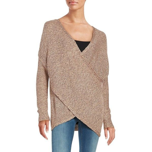 9ab05af9aa77e Design Lab Lord   Taylor Knit Mock-Wrap Sweater ( 51) ❤ liked on Polyvore  featuring tops