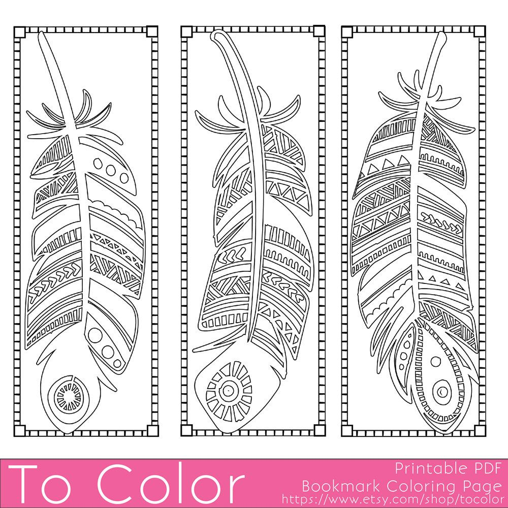 Printable Feathers Coloring Page Bookmarks for Adults, PDF / JPG ...