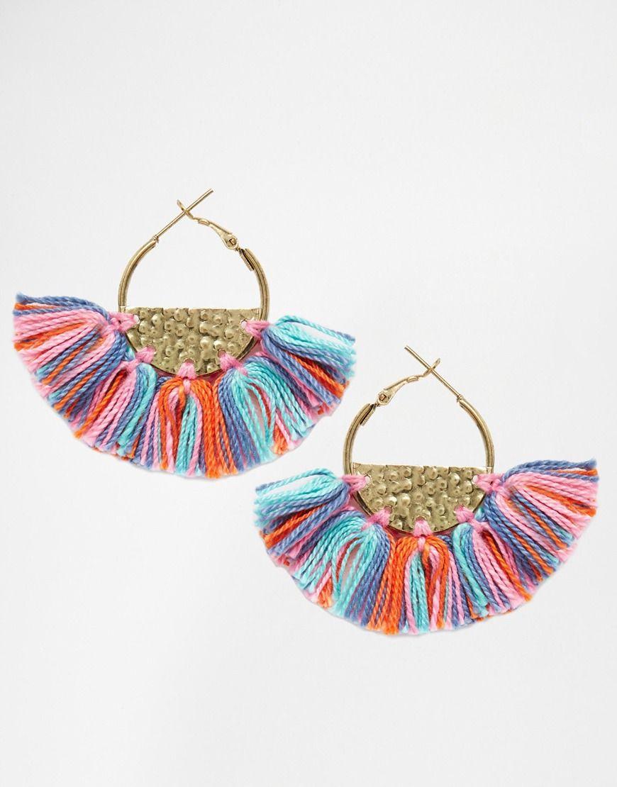 image 1 of glamorous semi circle hoop tassel earrings | wear 2016